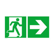 Segnale di uscita di sicurezza a destra con freccia verso destra