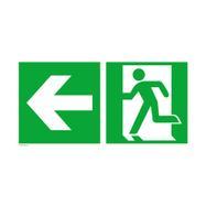 Uscita di sicurezza a sinistra con freccia verso sinistra