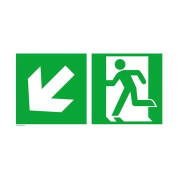 Uscita di sicurezza a sinistra con freccia verso il basso a sinistra