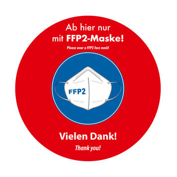 "Adesivo da pavimento per esterni ""indossate la  mascherina FFP2"""