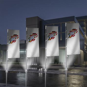 Illuminazione asta per bandiera
