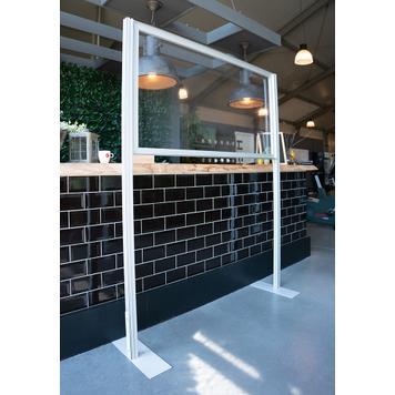 Divisorio stretchframe in alluminio con banner trasparente