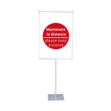"""Portaposter e portabanner""""KN"""" con inserto """"Mantenere le distanze"""""""