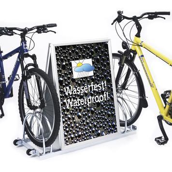 Rastrelliera per biciclette con pubblicità