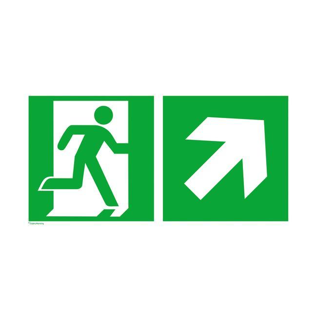Uscita di sicurezza a destra con freccia verso l'alto a destra