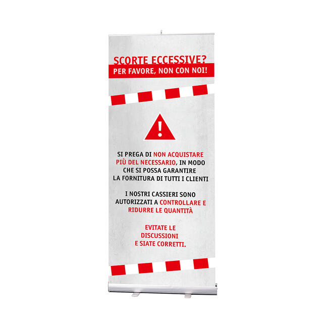 """Banner arrotolabile """"Stick"""" , banner """"No assalto agli scaffali"""" incluso"""