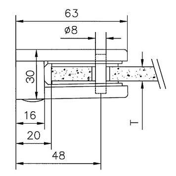 Clip per vetro grande per il montaggio a pareti da 6, 8 e 10 mm