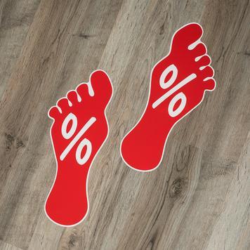 Adesivo per pavimento con motivo di impronta di piede