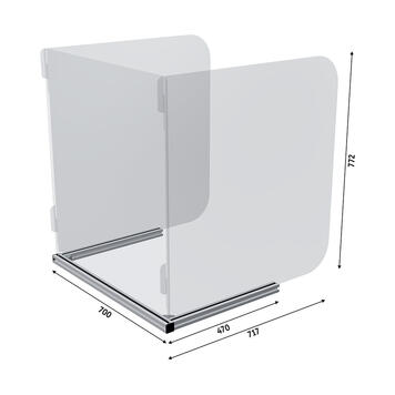 Barriera parafiato a 3 lati per tavoli